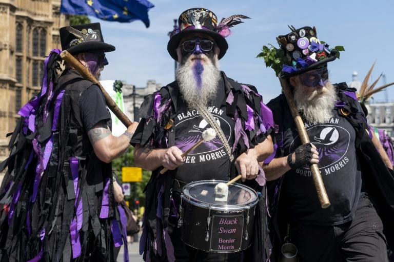 Members of the Black Swan Border Morris were among those taking part in the protest (AFP Photo/Niklas HALLE'N)