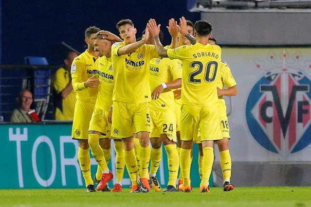 Soccer Football - La Liga Santander - Villarreal vs Real Madrid - Estadio de la Ceramica, Villarreal, Spain - May 19, 2018 Villarreal's Samu Castillejo celebrates scoring their second goal with team mates REUTERS/Heino Kalis