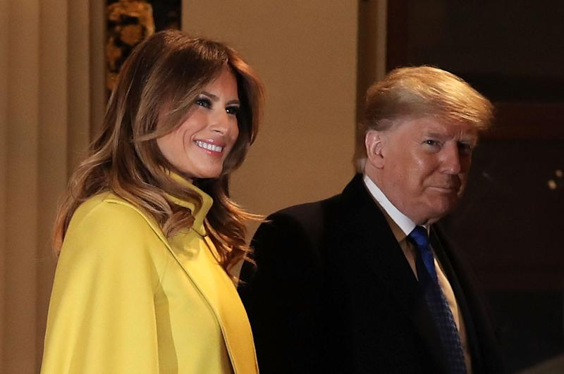 President Donald Trump and first lady Melania Trump arrive at a reception for NATO leaders hosted by Queen Elizabeth II at Buckingham Palace on Dec. 3, 2019 in London.
