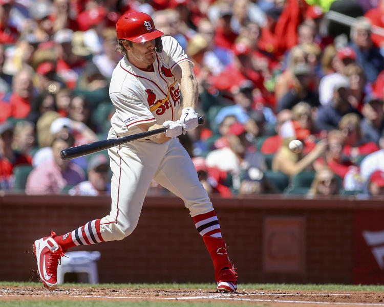 St. Louis Cardinals' Miles Mikolas hits a two-run single during the second inning of a baseball game against the New York Mets Saturday, April 20, 2019, in St. Louis. (AP Photo/Scott Kane)