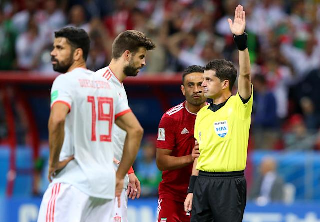 Referee Andres Cunha disallows Iran's first goal during the 2018 FIFA World Cup Russia group B match between Iran and Spain at Kazan Arena on June 20, 2018 in Kazan, Russia. (Getty Images)