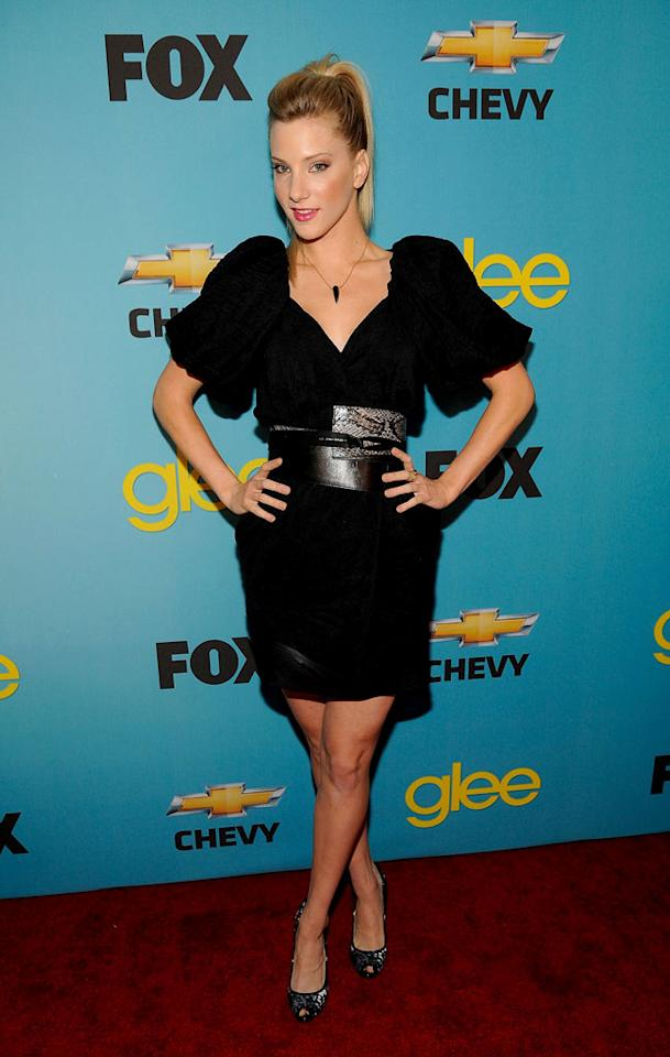 "<a href=""/heather-morris/contributor/2447506"">Heather Morris</a> (""Brittany"") arrives at Fox's <a href=""/glee/show/44113"">""Glee""</a> Spring Premiere Soiree at Chateau Marmont on April 12, 2010 in Los Angeles, California."