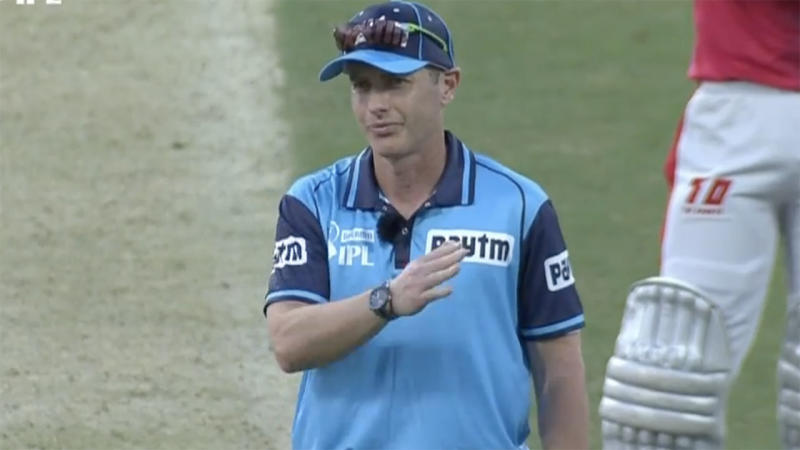 Umpire Chris Gaffaney, pictured here signalling the four.