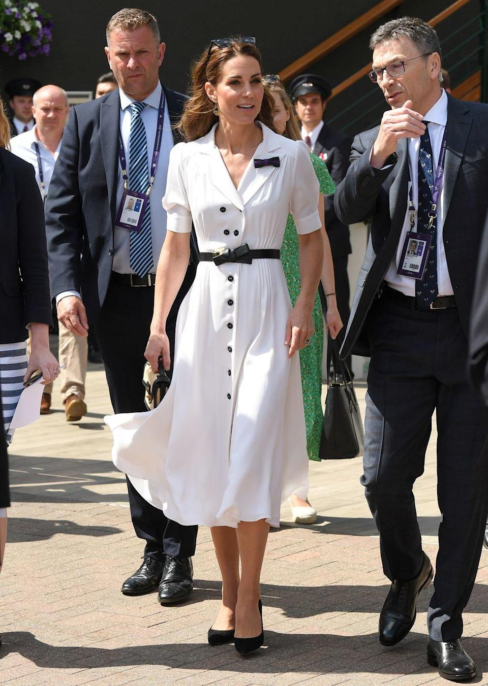 <p>The Duchess of Cambridge arrived at Wimbledon wearing a graphic black and white look.</p>