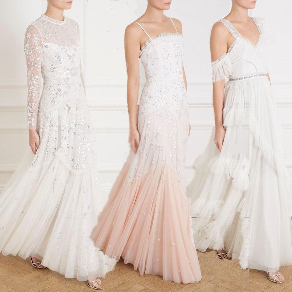 """<p>The beyond-dreamy dresses that <a rel=""""nofollow"""" href=""""http://www.needleandthread.com/uk/all-bridalwear/dresses/sort-by/price/sort-direction/desc"""">Needle & Thread</a> lovingly create every season are so worthy of wedding day material they make us want to get married on the spot. The latest collection makes us want to type the heart-eye emoji over and over again - and they even have veils and a cape. Obsessed.</p><p>(L) Tiered gloss bridal gown, £775 <a rel=""""nofollow"""" href=""""https://www.needleandthread.com/uk/all-wedding/bride/tiered-gloss-gown-ivory"""">BUY NOW</a></p><p>(M) Pearl rose cami gown, £800 <a rel=""""nofollow"""" href=""""https://www.needleandthread.com/uk/all-wedding/bride/pearl-rose-cami-gown-tinted-pink"""">BUY NOW</a></p><p>(R) Degas bridal gown, £550 <a rel=""""nofollow"""" href=""""https://www.needleandthread.com/uk/all-wedding/bride/degas-gown-ivory"""">BUY NOW</a></p>"""