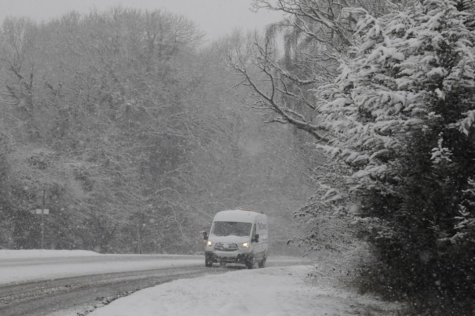 <p>Heavy snowfall has caused chaos across Kent – with more than 100 schools closed and blocked roads closure bringing swathes of the county to a standstill. About six inches of snow fell on Monday night in parts of the south east. (SWNS) </p>
