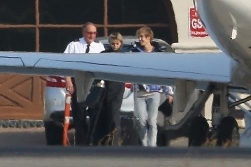 The couple was photographed at the Van Nuys airport in California on Saturday.