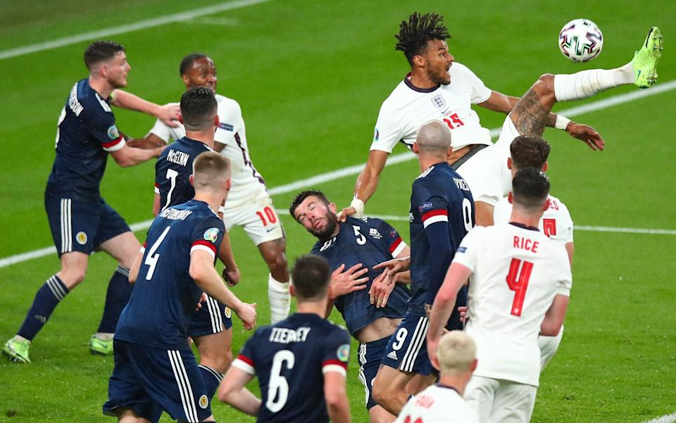 Tyrone Mings of England during the UEFA Euro 2020 Championship Group D match between England and Scotland - Robbie Jay Barratt - AMA/Getty Images