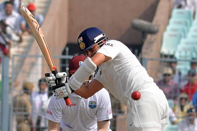 Indian player Sachin Tendulkar in action during the 2nd day of the 1st test match between India and West Indies at Eden Gardens, Kolkata on Nov. 7, 2013. (Photo: IANS)