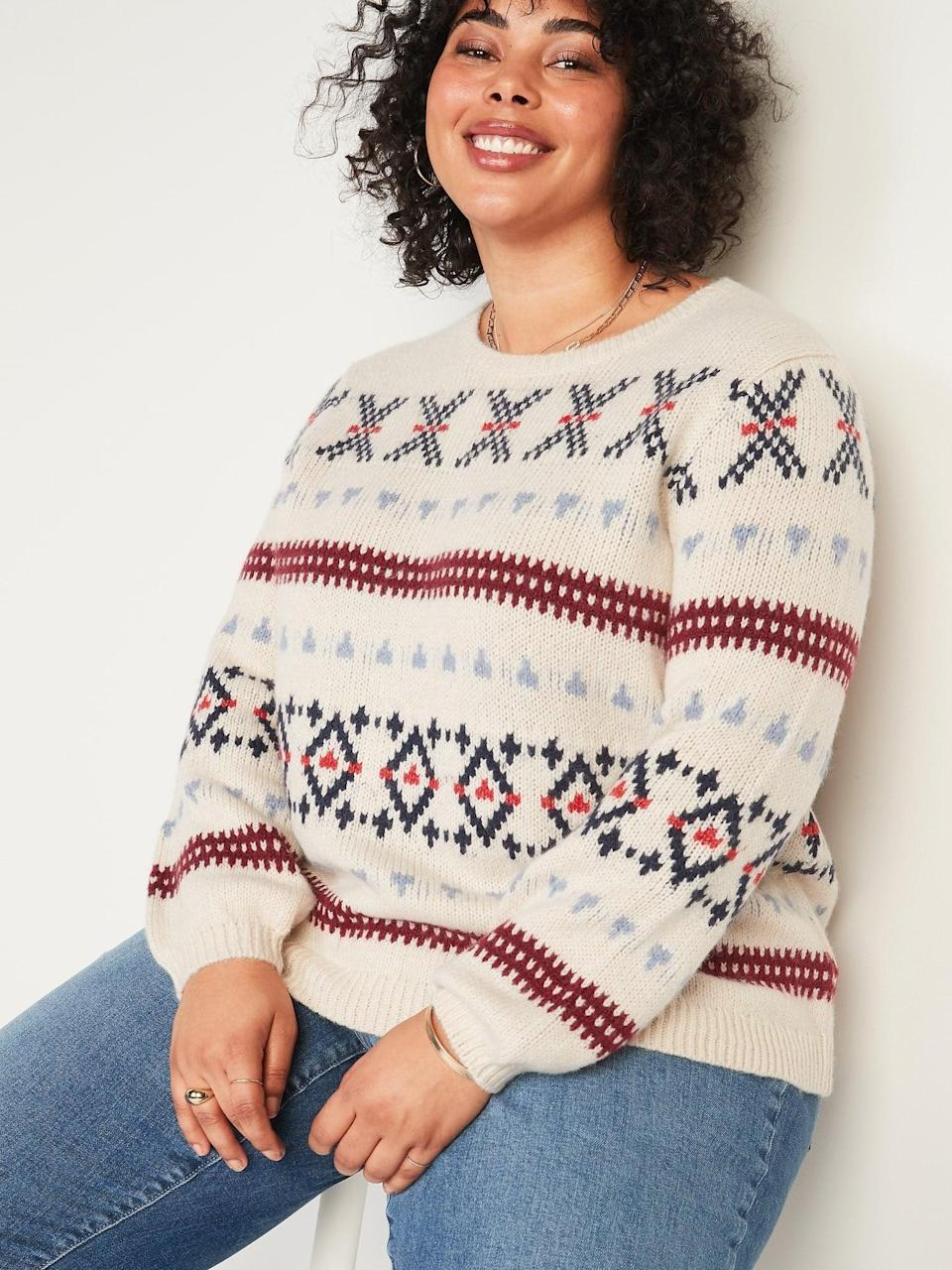 <p>If you're looking for a classic winter staple, this <span>Fair Isle Blouson-Sleeve Plus-Size Sweater</span> ($48) is it.</p>