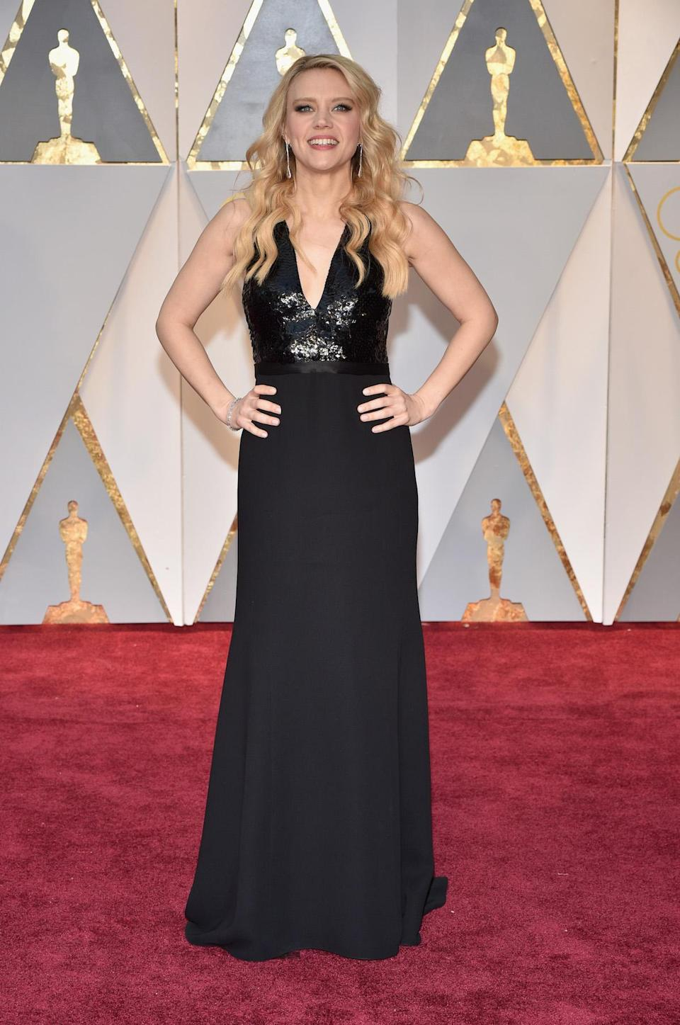<p>Kate McKinnon ditched the <em>Saturday Night Live </em>costumes over the weekend for a more glamorous look. At the Oscars, where the comedienne was presenting an award, she stood out in a black halter gown from Narciso Rodriguez. <em>(Photo: Getty Images)</em> </p>