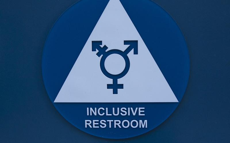 A gender-neutral bathroom in California, USA - www.Alamy.com