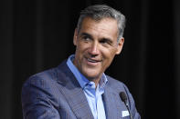 Class of 2021 inductee Jay Wright speaks at a news conference for the Basketball Hall of Fame, Friday, Sept. 10, 2021, at Mohegan Sun in Uncasville, Conn. (AP Photo/Jessica Hill)