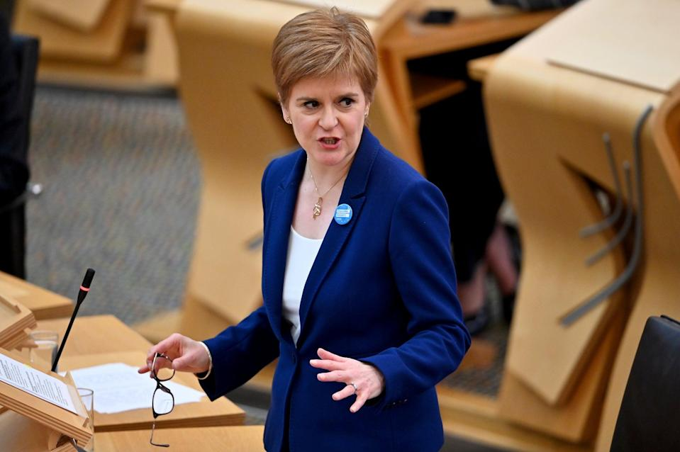 Scottish First Minister Nicola Sturgeon speaks during First Minister's Questions at the parliament in Edinburgh (file photo): REUTERS