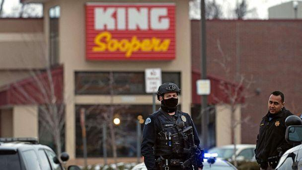 PHOTO: Police officers secure the perimeter of the King Soopers grocery store in Boulder, Colo., March 22, 2021, after reports of an active shooter. (Jason Connolly/AFP via Getty Images)