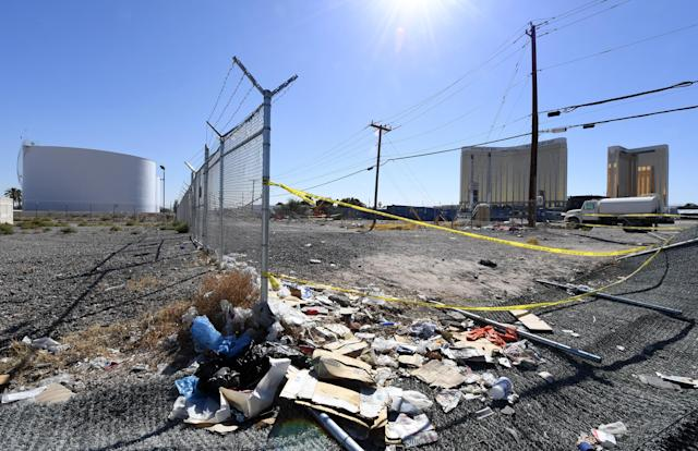 <p>Jet fuel tanks reportedly targeted by gunman Stephen Paddock are shown east of Mandalay Bay Resort and Casino and the Las Vegas Village, site of the Route 91 Harvest country music festival, on Oct. 5, 2017 in Las Vegas, Nev. (Photo: Ethan Miller/Getty Images) </p>