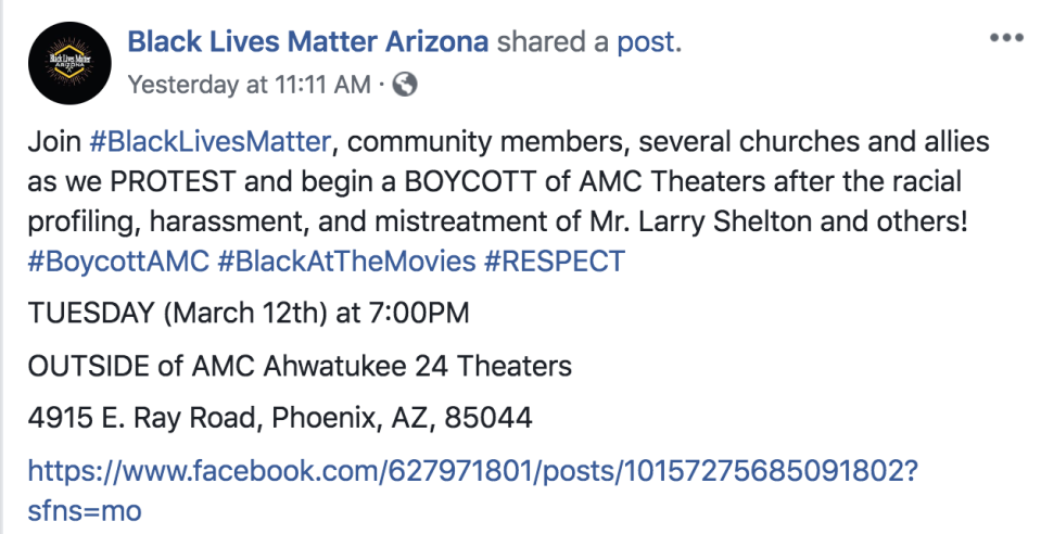 Black Lives Matter Arizona is picketing an AMC Theater in Phoenix for unfairly accusing a man of sneaking into the movies. (Screenshot: Black Lives Matter Arizona/Facebook)