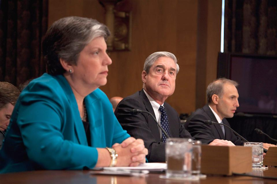 Homeland Security Secretary Janet Napolitano, Mueller and National Counterterrorism Center Director Matthew Olsen testify on Capitol Hill on Sept. 13, 2011, before the Senate Homeland Security and Governmental Affairs Committee hearing on the terror threat to the U.S.