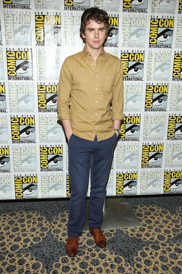 "Freddie Highmore attends the ""Bates Motel"" press line during Comic-Con International 2013 on July 20, 2013 in San Diego, California."
