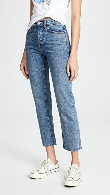 """<h2>RE/DONE High Rise Rigid Stove Pipe Jeans</h2><br><strong><em>The Don't-Give-A-Stretch Style</em></strong><br><br>Sometimes, good things are worth waiting for. These non-stretch RE/DONE jeans take some breaking in, but once they do, your favorite jeans better watch out. Reviewers report that once they do, they will quickly become your new go-to pair. <br><br><strong>The Hype: </strong>4.6 out of 5 stars; 6 reviews on Shopbop.com <br><br><strong>What They're Saying</strong>: """"These jeans are somewhat rigid but still comfy and are so flattering- genuinely my new [favorite] jeans."""" — laurennnn, Shopbop.com reviewer<br><em><br>Shop <strong><a href=""""https://www.shopbop.com/high-rise-rigid-stove-pipe/vp/v=1/1585501078.htm?folderID=50796"""" rel=""""nofollow noopener"""" target=""""_blank"""" data-ylk=""""slk:Shopbop.com"""" class=""""link rapid-noclick-resp"""">Shopbop.com</a></strong></em><br><br><strong>RE/DONE</strong> High Rise Rigid Stove Pipe Jeans, $, available at <a href=""""https://go.skimresources.com/?id=30283X879131&url=https%3A%2F%2Fwww.shopbop.com%2Fhigh-rise-rigid-stove-pipe%2Fvp%2Fv%3D1%2F1585501078.htm%3FfolderID%3D50796"""" rel=""""nofollow noopener"""" target=""""_blank"""" data-ylk=""""slk:Shopbop"""" class=""""link rapid-noclick-resp"""">Shopbop</a>"""