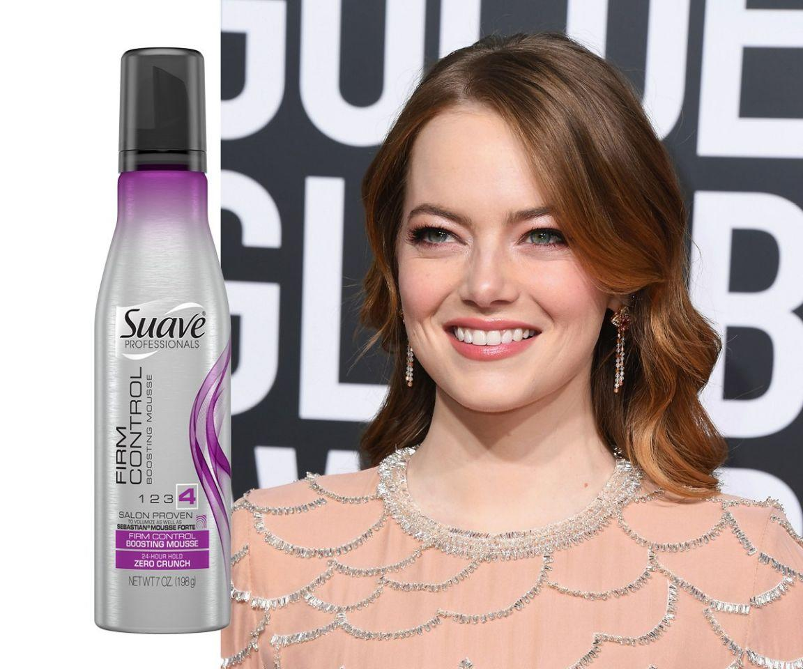 "<p>If you've written off mousse as something only your mom or '80s prom queens use, it's time reconsider. To get these gorgeous waves, Emma Stone's hairstylist Mara Roszak first brushed Suave's firm-control mousse through damp hair, then blow-dried it section by section, adding Velcro rollers throughout. (Those were left in for five minutes after getting spritzed with hairspray, followed by a 1-inch iron.) Not only did it help her waves hold all night, it left them soft and un-sticky too.<br /><strong>SHOP IT: <a rel=""nofollow"" href=""https://fave.co/2SNsmO0"">Walmart, $4</a></strong> </p>"