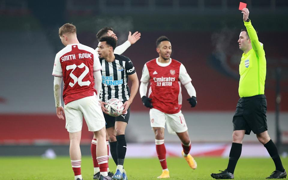 Smith Rowe had earlier been shown a red card, only for it to be rescinded - REUTERS