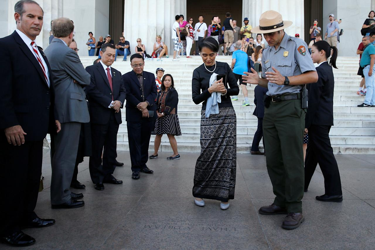 "Myanmar's State Counsellor Aung San Suu Kyi stands on the spot where late U.S. civil rights leader Martin Luther King delivered his ""I Have a Dream"" speech in 1963, as she visits the Lincoln Memorial in Washington, U.S. September 14, 2016. REUTERS/Jonathan Ernst"