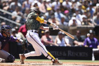 San Diego Padres' Jake Cronenworth hits an RBI-double against the Colorado Rockies in the first inning of a baseball game Sunday, Aug. 1, 2021, in San Diego. (AP Photo/Derrick Tuskan)