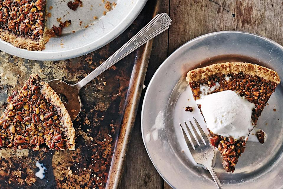 """Sorghum syrup adds earthy, slightly smoky flavor to this bourbon-laced pecan pie. <a href=""""https://www.epicurious.com/recipes/food/views/sorghum-bourbon-pecan-pie-56390146?mbid=synd_yahoo_rss"""" rel=""""nofollow noopener"""" target=""""_blank"""" data-ylk=""""slk:See recipe."""" class=""""link rapid-noclick-resp"""">See recipe.</a>"""