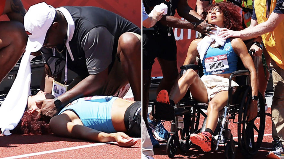 Taliyah Brooks, pictured here being taken away on a wheelchair.