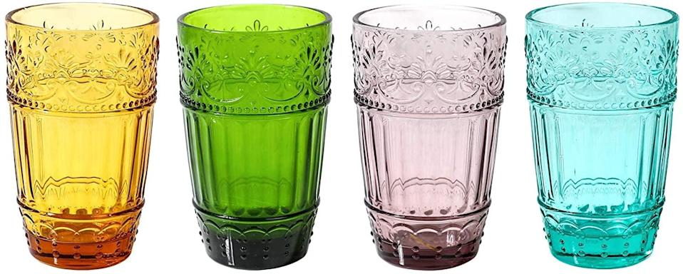 <p>Bring some playfulness to your shelves with these <span>Whole Housewares Colored Water Glasses</span> ($28).</p>