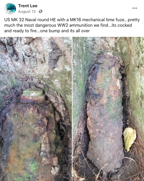 """A screenshot of Trent Lee's Facebook post, showing a World War 2 bomb. He said the bomb is ready to fire, """"one bump and it's all over""""."""