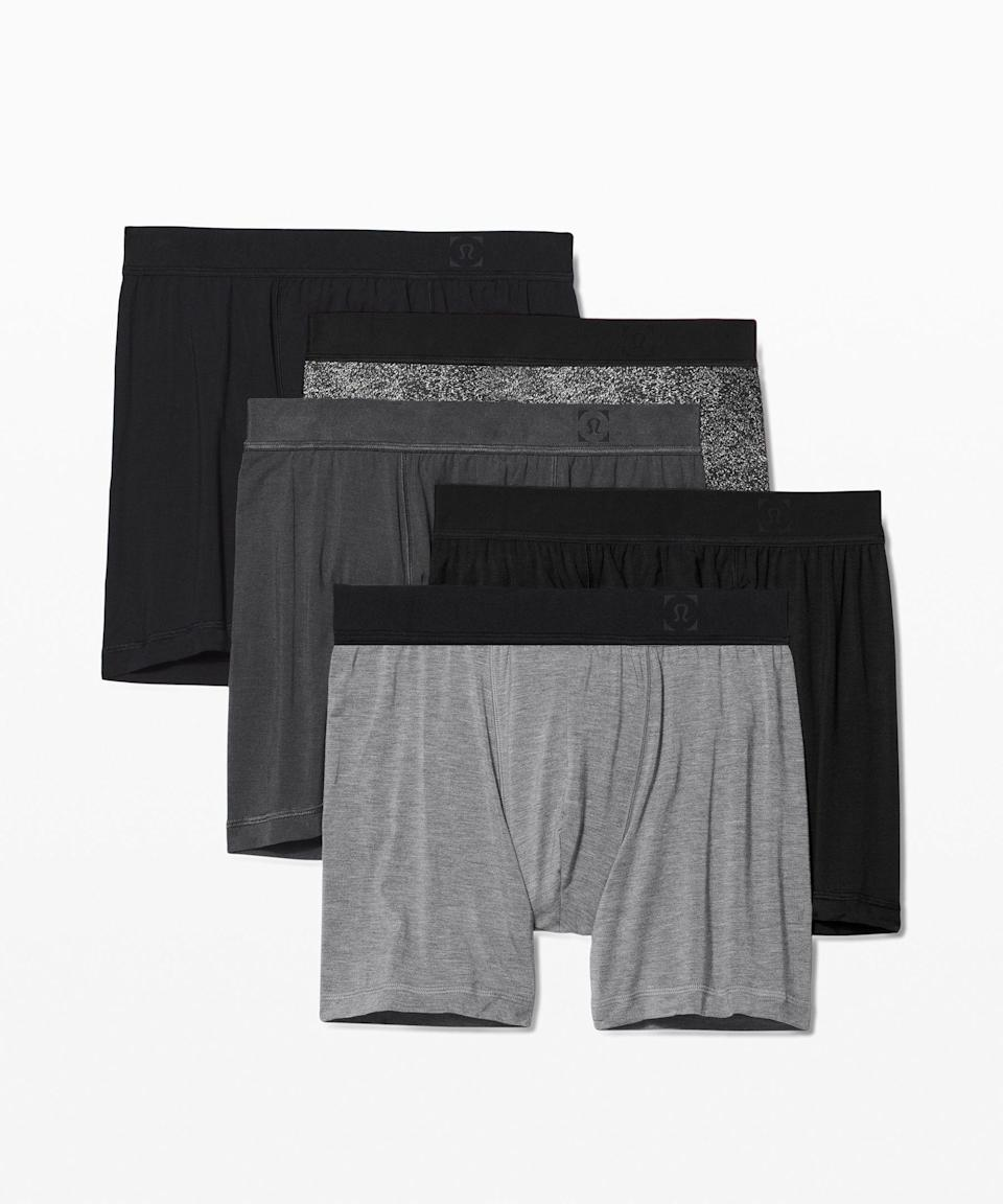 """<p><strong>Lululemon</strong></p><p>lululemon.com</p><p><strong>$108.00</strong></p><p><a href=""""https://go.redirectingat.com?id=74968X1596630&url=https%3A%2F%2Fshop.lululemon.com%2Fp%2Fmen-underwear%2FAIM-Boxer-5-Pack%2F_%2Fprod9660102&sref=https%3A%2F%2Fwww.menshealth.com%2Ftechnology-gear%2Fg35237975%2Flong-distance-relationship-gifts%2F"""" rel=""""nofollow noopener"""" target=""""_blank"""" data-ylk=""""slk:Shop Now"""" class=""""link rapid-noclick-resp"""">Shop Now</a></p><p>Like socks, we should <em>not </em>be overlooking the power of a good underwear gift. Lululemon's motion boxers are truly made to move with you and not get stuck (or get things stuck). Just as good for working out as they are for long drives. </p>"""