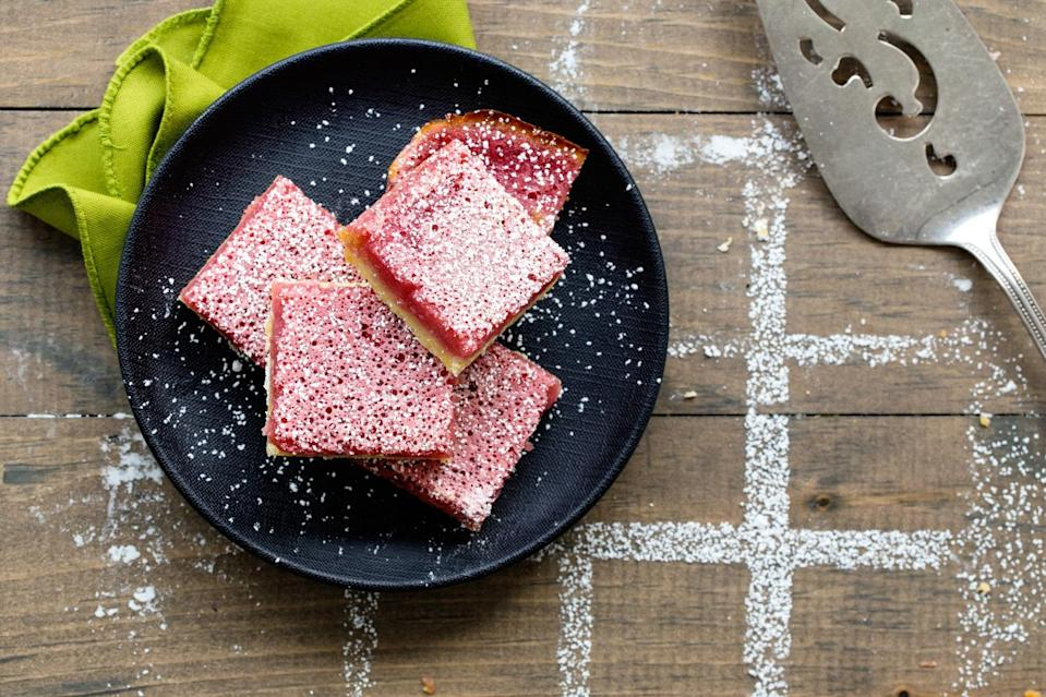 "How do you make lemon bars even better? Turn them pink. Add bright color and tangy flavor with a splash of fresh raspberry purée. <a href=""https://www.epicurious.com/recipes/food/views/pink-lemonade-bars-56389792?mbid=synd_yahoo_rss"" rel=""nofollow noopener"" target=""_blank"" data-ylk=""slk:See recipe."" class=""link rapid-noclick-resp"">See recipe.</a>"