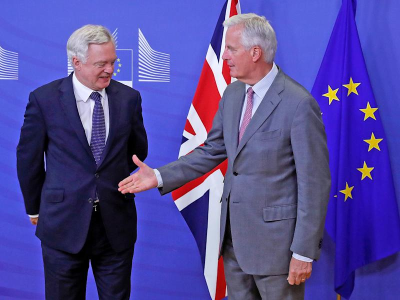 Brexit Secretary David Davis and EU chief negotiator Michel Barnier: REUTERS