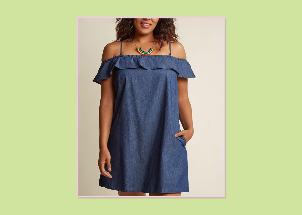 "<p>A Fan of Chambray Shift Dress, $65, <a rel=""nofollow"" href=""https://www.modcloth.com/shop/casual-dresses/a-fan-of-chambray-shift-dress/152833.html?dwvar_152833_color=CHMB&cgid=#q=off+the+shoulder&prefn1=size&prefv1=2X&start=5"">ModCloth</a> (Photo: ModCloth) </p>"