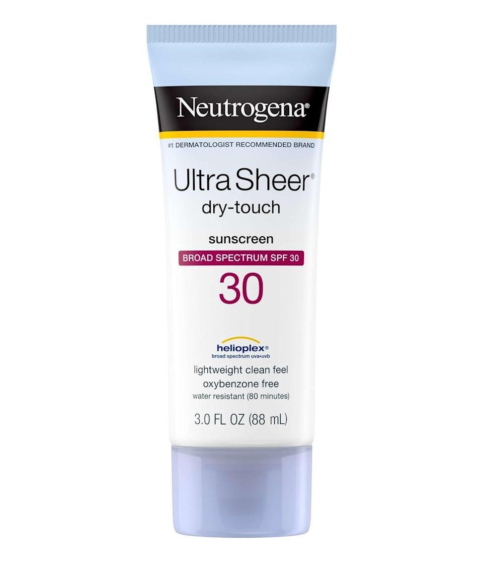 <p>Always stay protected with the <span>Neutrogena Ultra Sheer Dry-Touch Sunblock SPF 30 (Pack of 2)</span> ($13). It barely has a white cast!</p>