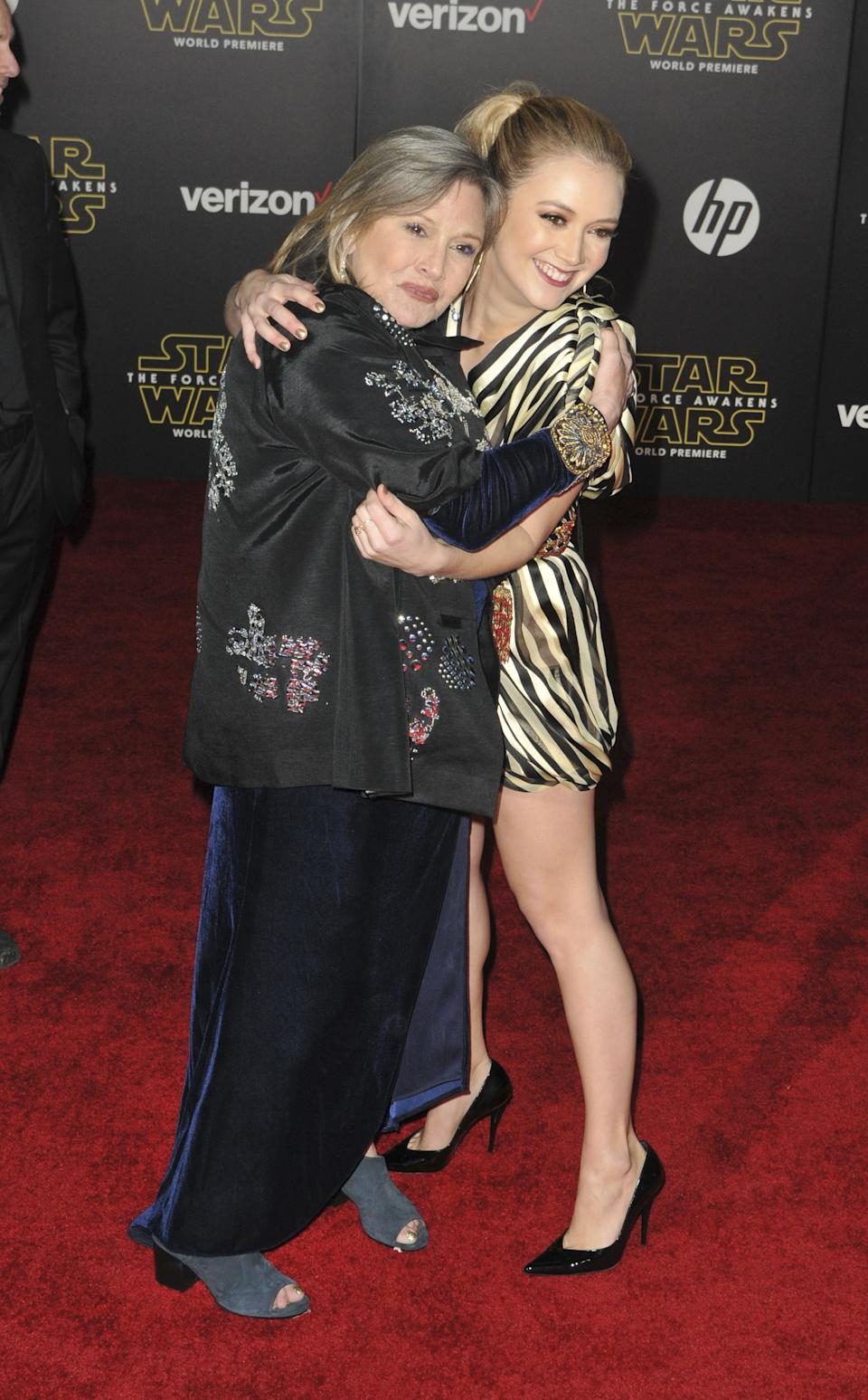"HOLLYWOOD, CA - DECEMBER14: Carrie Fisher, Billie Lourd at the Star Wars ""The Force Awakens"" Movie Premiere in Hollywood, California on December 14, 2015 . Credit: Koi Sojer/Snap'N U Photos /MediaPunch/IPX"