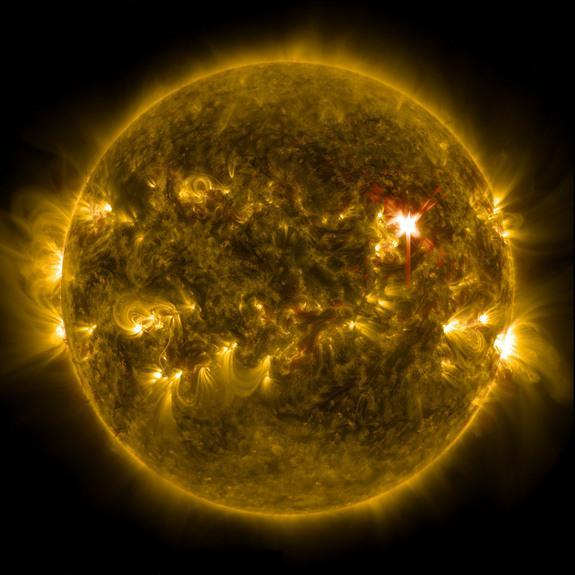 NASA's powerful Solar Dynamics Observatory captured this stunning full-disk view of the huge X1 solar flare of March 29, 2014.