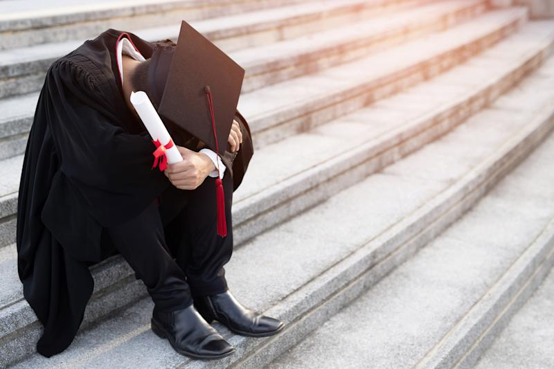 New graduates are stressed because of lack of work due to technology to replace their work.