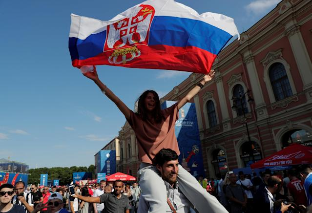 Soccer Football - World Cup - Group E - Costa Rica vs Serbia - Saint Petersburg, Russia - June 17, 2018. Serbia's fans cheer at Saint Petersburg Fan Fest. REUTERS/Henry Romero