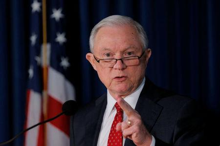 U.S. Attorney General Jeff Sessions makes a statement regarding national security in New York