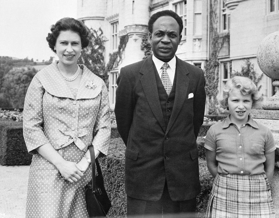 <p>Again while expecting her third child in 1959, Queen Elizabeth turned to tailored separates to accommodate her bump. The Queen wore a polka dotted shift dress and matching cropped jacket for a visit from the Prime Minister of Ghana at Balmoral Castle. </p>