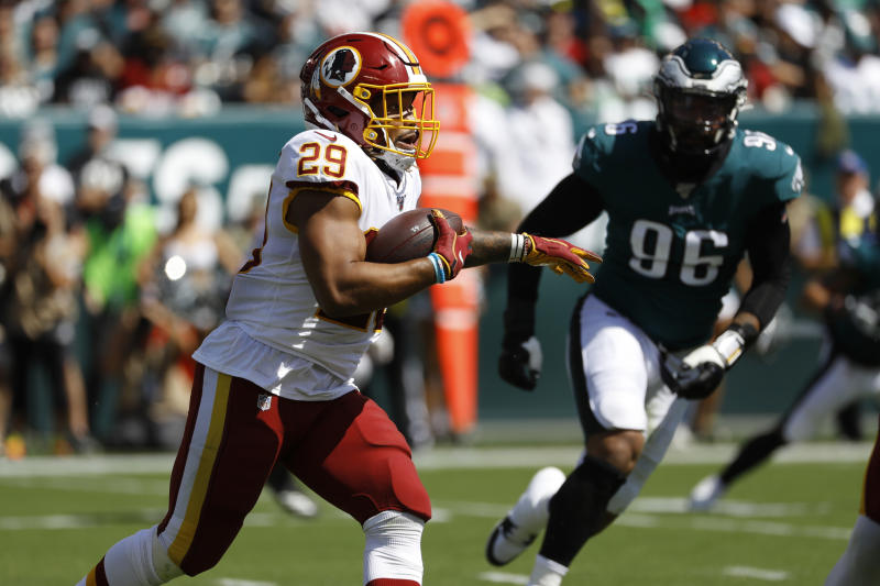 Washington Redskins' Derrius Guice could miss time due to a knee injury. (AP)