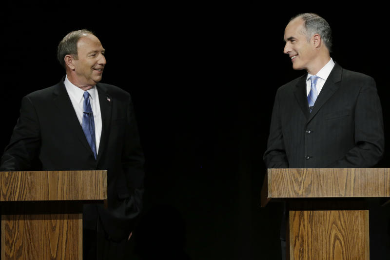 Republican Tom Smith and Democratic U.S. Sen. Bob Casey meet before a debate between Pennsylvania's candidates for U.S. Senate, at the WPVI-TV studio, Friday, Oct. 26, 2012, in Philadelphia. (AP Photo/Matt Rourke)