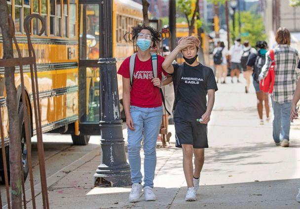 PHOTO: Students leave school early due to extreme heat at Golda Meir School in Milwaukee, Aug. 25, 2021. (Mike De Sisti/Milwaukee Journal via USA Today Network)