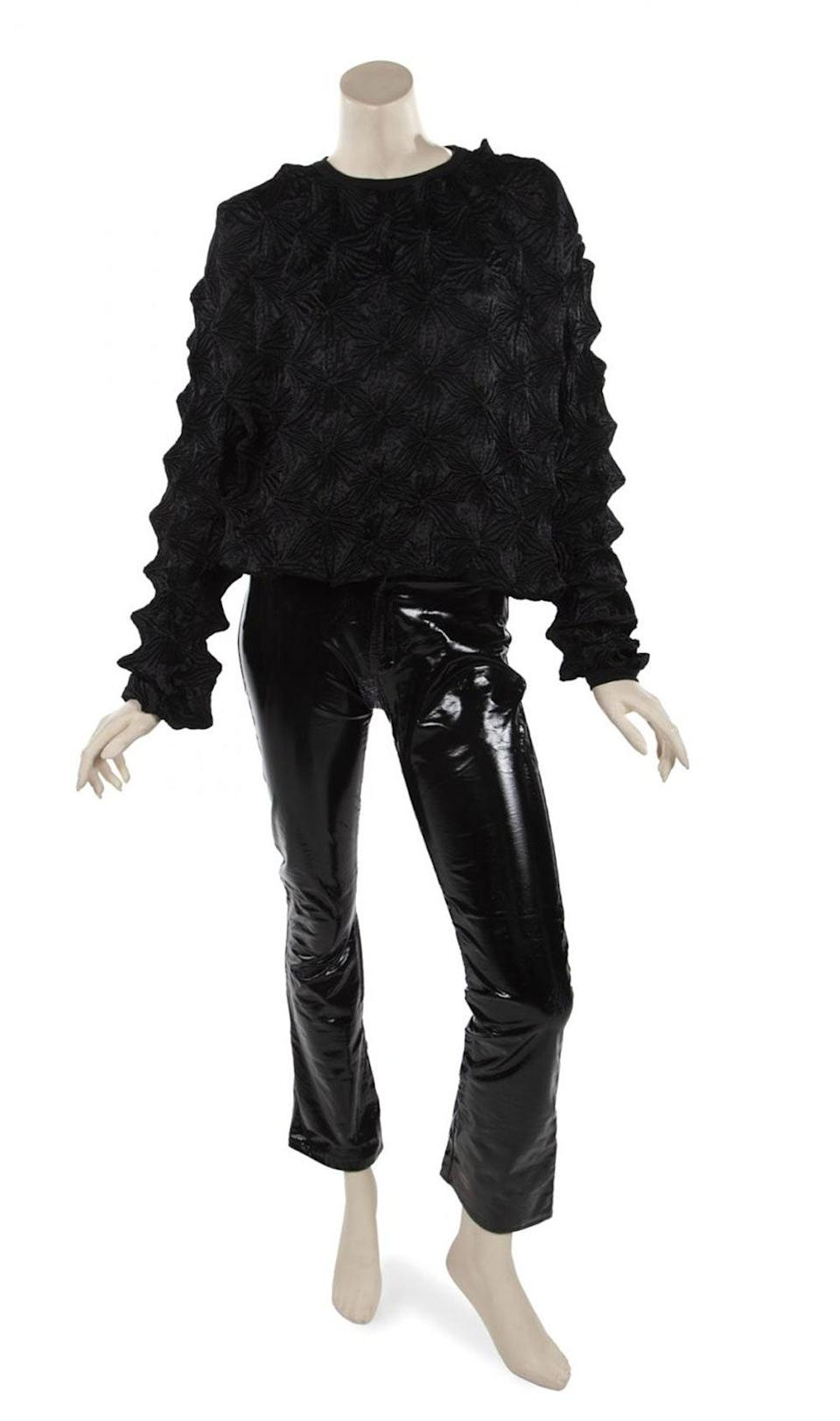 Dexter Wong shirt and patent leather pants.