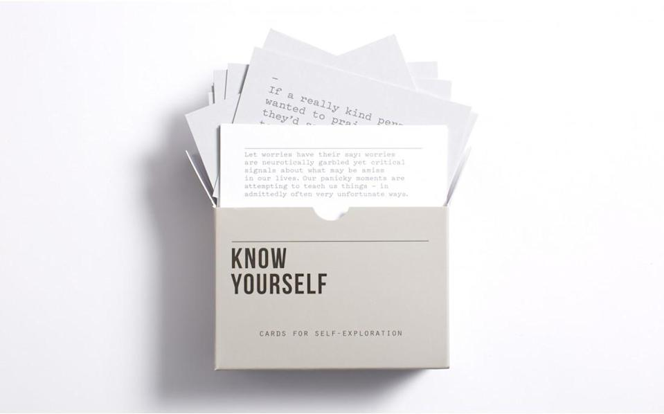 """<h2>Know Yourself Prompt Cards</h2> <p>One of the other great things about being single is that you get to spend time working on you instead of working on your relationship. Aid your single besties in this endeavor by gifting them with these thought-provoking cards """"designed to assist in a journey of self-knowledge.""""</p> <p><a href=""""http://www.theschooloflife.com/shop/know-yourself-prompt-cards/"""" rel=""""nofollow noopener"""" target=""""_blank"""" data-ylk=""""slk:The School Of Life Know Yourself Prompt Cards"""" class=""""link rapid-noclick-resp"""">The School Of Life Know Yourself Prompt Cards</a>, $15</p> <h4>The School Of Life</h4> <ul> <strong>Related Articles</strong> <li><a href=""""http://thezoereport.com/fashion/style-tips/box-of-style-ways-to-wear-cape-trend/?utm_source=yahoo&utm_medium=syndication"""" rel=""""nofollow noopener"""" target=""""_blank"""" data-ylk=""""slk:The Key Styling Piece Your Wardrobe Needs"""" class=""""link rapid-noclick-resp"""">The Key Styling Piece Your Wardrobe Needs</a></li><li><a href=""""http://thezoereport.com/entertainment/culture/deddeh-howard-black-mirror/?utm_source=yahoo&utm_medium=syndication"""" rel=""""nofollow noopener"""" target=""""_blank"""" data-ylk=""""slk:Why These Faux Campaigns Are Going Viral"""" class=""""link rapid-noclick-resp"""">Why These Faux Campaigns Are Going Viral</a></li><li><a href=""""http://thezoereport.com/living/entertaining/diy-gift-wrap-ideas-simone-leblanc/?utm_source=yahoo&utm_medium=syndication"""" rel=""""nofollow noopener"""" target=""""_blank"""" data-ylk=""""slk:Pinterest-Worthy Gift Wrapping Ideas That Are Easy To Pull Off"""" class=""""link rapid-noclick-resp"""">Pinterest-Worthy Gift Wrapping Ideas That Are Easy To Pull Off</a></li></ul>"""