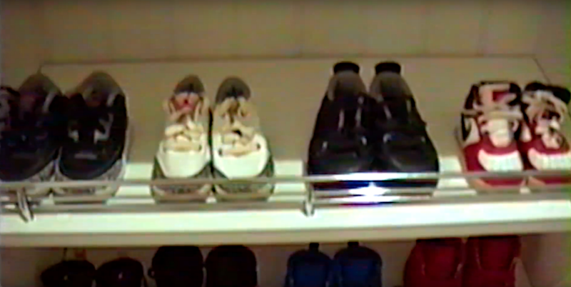 There were at least 4 different racks of tiny desinger shoes for Kylie's 5-day old daughter. Source: kyliejenner/Instagram/Youtube