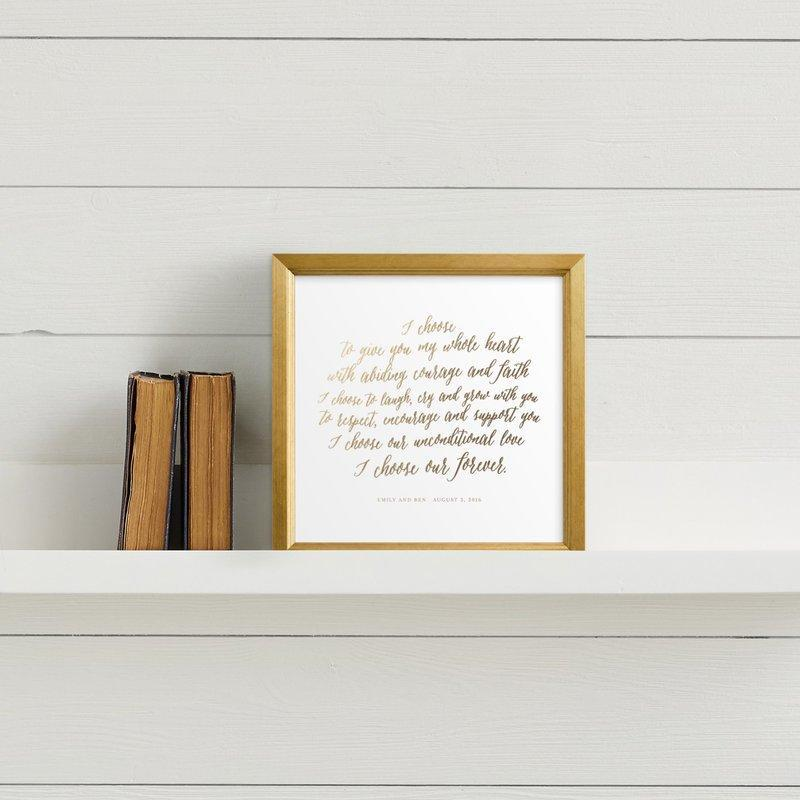 "<h3><strong>Frame Your Wedding Vows</strong></h3> <br>""The first piece of art that we put up in our home was our hand-scribbled wedding vows which we had custom foil-pressed by Minted as a keepsake. My husband has beautiful handwriting and the gold really goes with everything so it's moved around the house quite a bit, in and out of gallery walls. It's my favorite piece to this day and makes my heart flutter every time I walk past."" — Art Stylist at <a href=""https://www.minted.com/"" rel=""nofollow noopener"" target=""_blank"" data-ylk=""slk:Minted"" class=""link rapid-noclick-resp"">Minted</a>.<br><br><strong>Minted</strong> Your Vows as a Foil Art Print, $, available at <a href=""https://go.skimresources.com/?id=30283X879131&url=https%3A%2F%2Fwww.minted.com%2Fproduct%2Fkids-drawn-art%2FMIN-XXF-DFA%2Fyour-vows-as-a-foil-art-print%3Fcolor%3DA%26shape%3D"" rel=""nofollow noopener"" target=""_blank"" data-ylk=""slk:Minted"" class=""link rapid-noclick-resp"">Minted</a><br>"